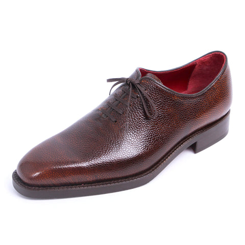 Italian GYW Wholecut Oxford - Brush- Off Pebble Grain