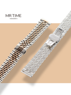 MR TIME Stainless Steel Metal - RoseGold Brushed Silver