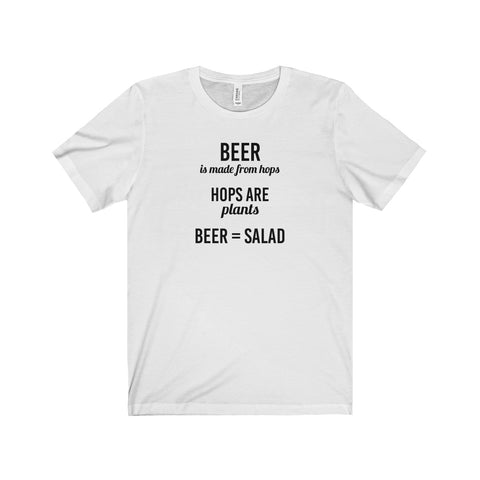 Hoppy Shops Beer Equals Salad Unisex Jersey Short Sleeve T-Shirt White Logo - Hoppy Shops