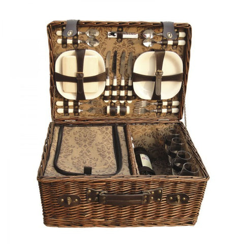 SET PICNIC 4 PER WICKER BASKET