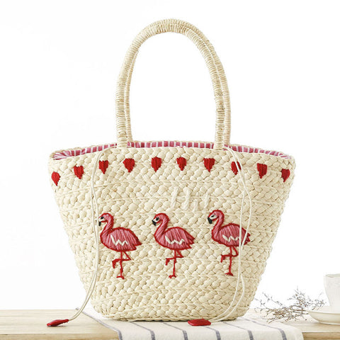 Womens Flamingo Embroidery Large Straw Beach Bag - Republic Pa Sat