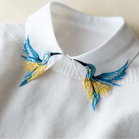 Bird Embroidery Vest Shirt Fake Collar