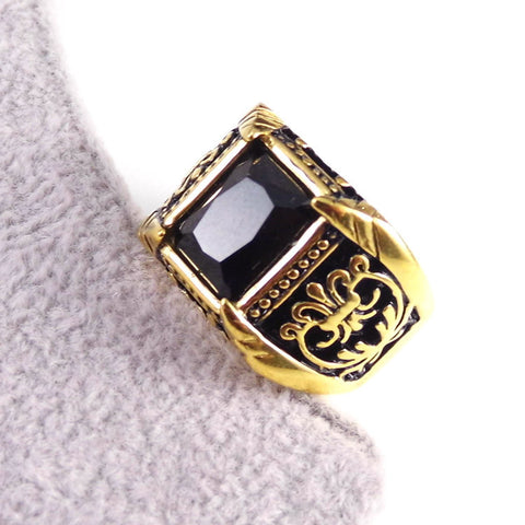 Mens Vintage Stainless Colour Crystal Ring - Republic Pa Sat