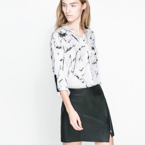 Marble Pattern Ink Printed Blouse