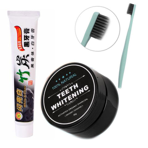3pcs/set Bamboo Toothpaste w/ Charcoal Powder & Ultra Soft Toothbrush - Republic Pa Sat