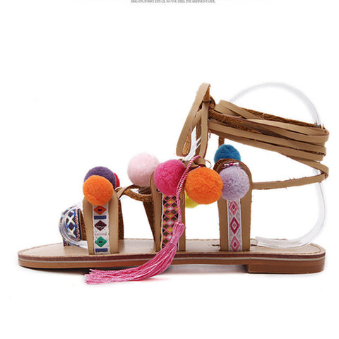 Bohemian Pompon Sandals with Embroidered Tassel - Republic Pa Sat