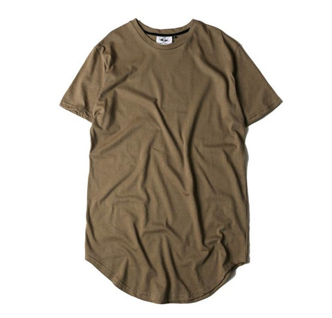 Curved Hem Long Line Hip-Hop T-shirt