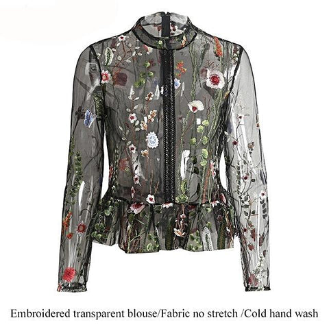 Chic Floral Embroidery Blouse