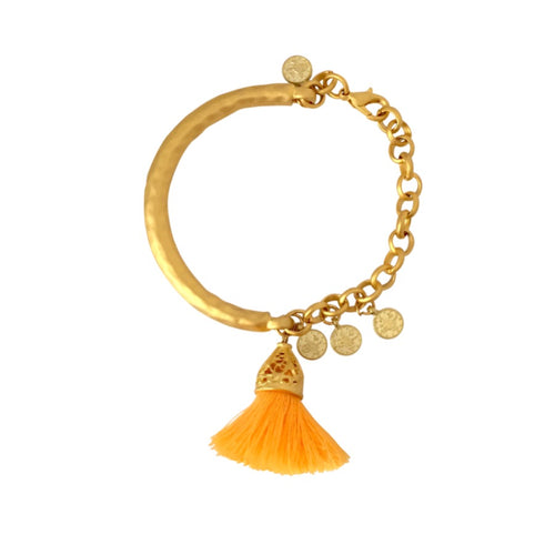 San Lucas Bracelet - Matte Gold & Orange Tassel