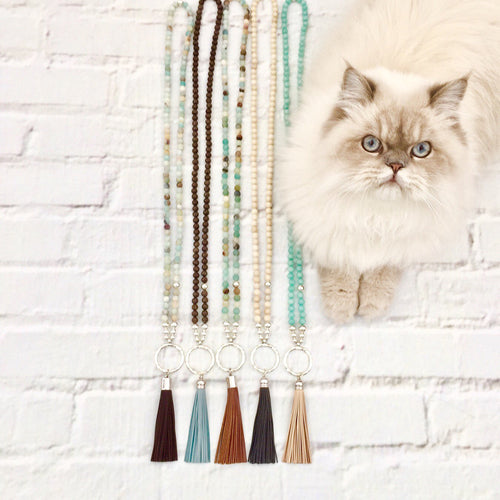 Rhode Island - Stone & Leather Tassel Necklace
