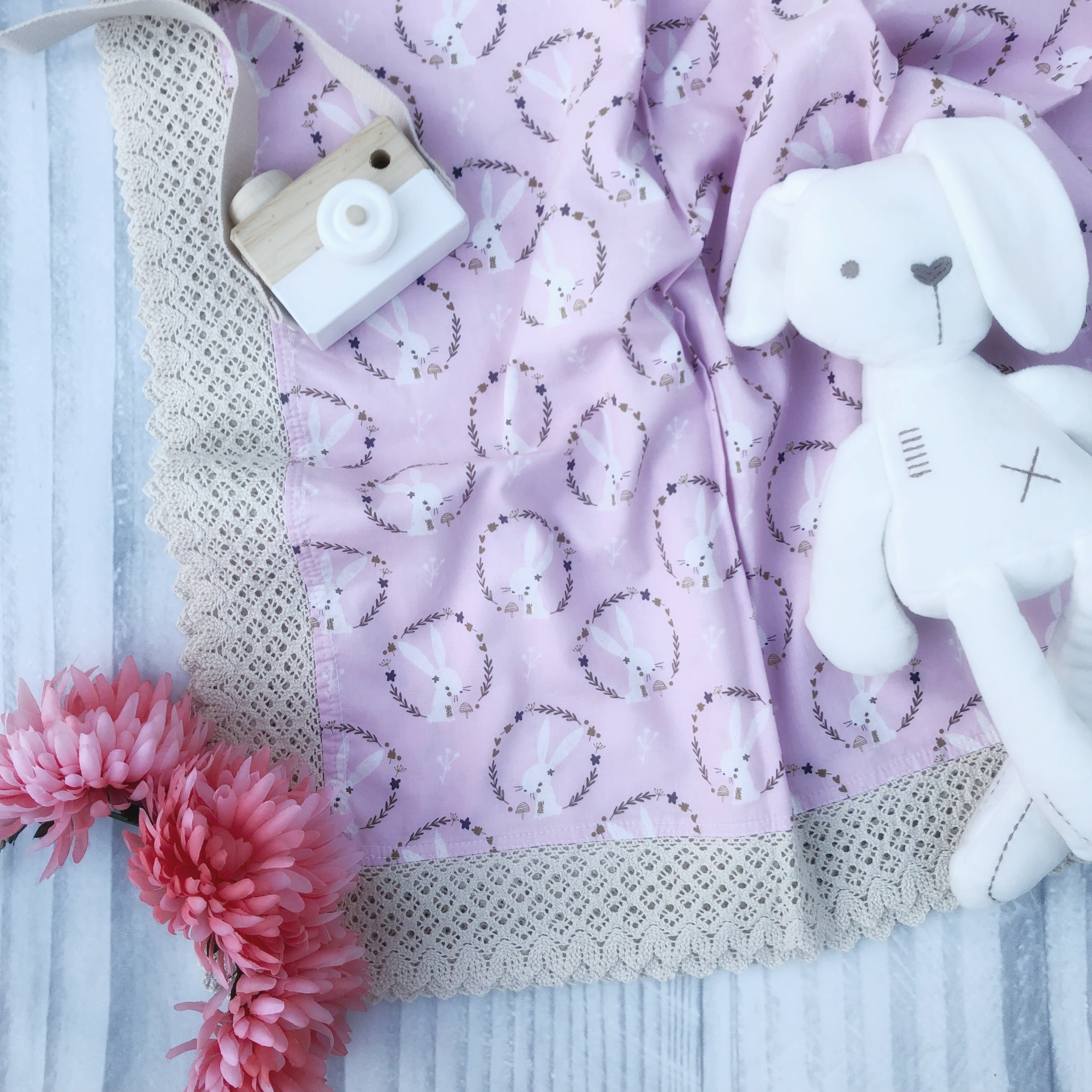 Eden Snuggle, Pink & White Bunnies - Swaddle Throw Rug
