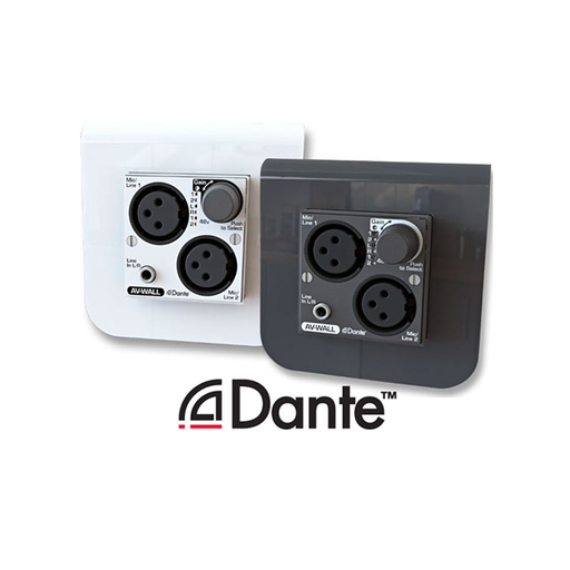 AV-WALL-DT4i Dante Super Compact Mic/Line interface for wall mount