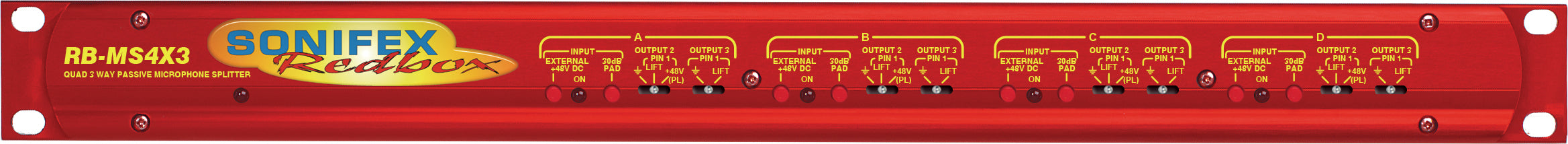 RB-MS4X3 Quad 3 Way Passive Microphone Splitter