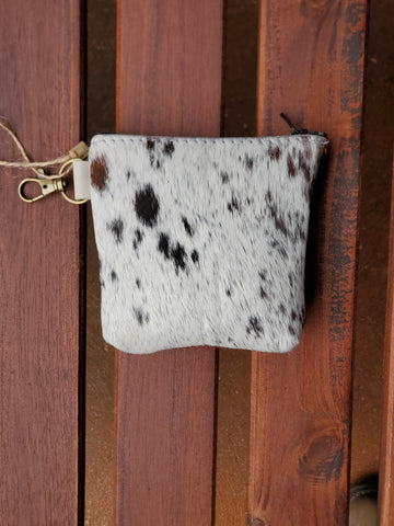 Leather zipper Coin bag-White and brown