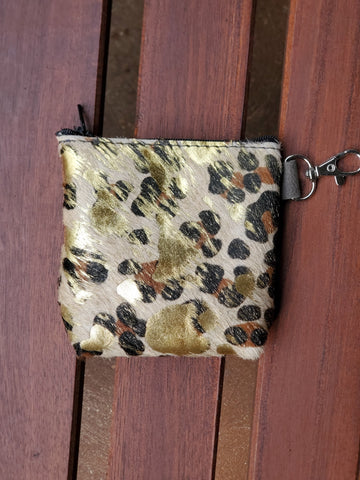 Leather zipper Coin bag- Gold leopard