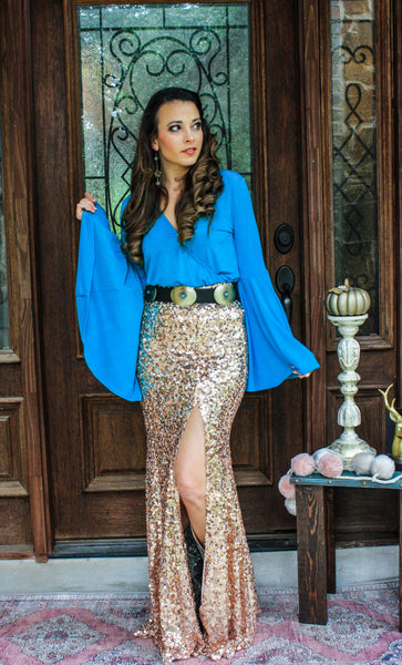 Royal sequin maxi skirt- ROSE GOLD