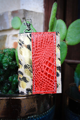 Credit Card Key Chain Red and metallic acid wash leopard hide