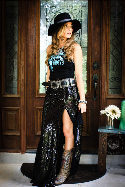 Royal Sequin Maxi Skirt BLACK