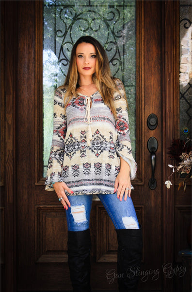 Aztec Bell Sleeve Sweater