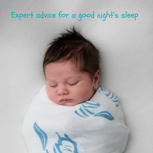 Sleeping baby swaddled in Tiny Chipmunk 100% bamboo muslin swaddle blanket - hedgehog pattern, with the caption 'expert advice for a good night's sleep'