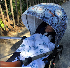 Using Tiny Chipmunk 100% bamboo muslin swaddle blanket as a pram blanket