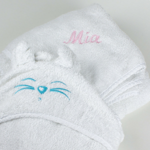 Tiny Chipmunk extra-large bamboo hooded towel with ears - personalised