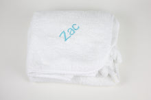 Tiny Chipmunk extra-large bamboo hooded towel with ears - blue name entire towel