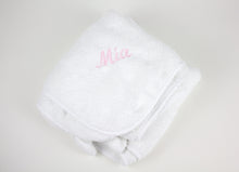 Tiny Chipmunk extra-large bamboo hooded towel with ears - pink name entire towel