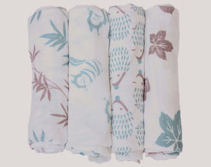 All four Tiny Chipmunk bamboo muslin swaddle blankets - bamboo, chipmunk, hedgehog and woodland print