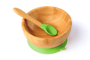 Tiny Chipmunk Baby Bamboo Bowl & Spoon Set With Suction
