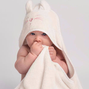 Baby wearing Tiny Chipmunk extra-large bamboo hooded towel with ears - pink