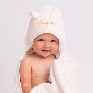 Toddler wearing Tiny Chipmunk extra-large bamboo hooded towel with ears - yellow