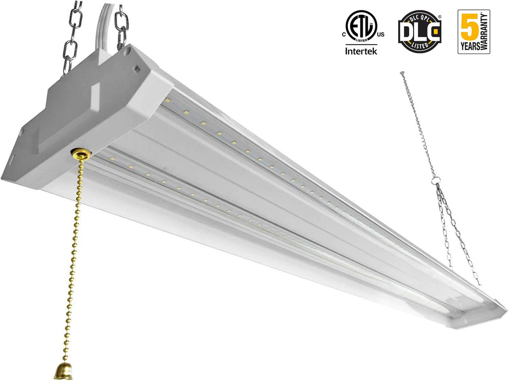 LED Utility Shop Light Durable Fixture With Pull Chain Mounting 4FT Linkable Double