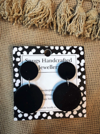 Black Round Snugs Earrings