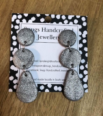 Snugs Earrings - Silver Glitter - Large