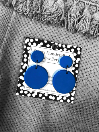 Blue Round Snugs Earrings