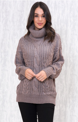 Roll neck chunky cable knit