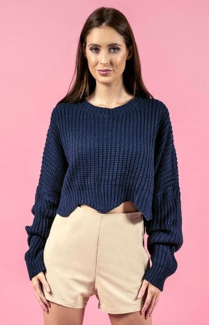Scalloped Knit - Navy