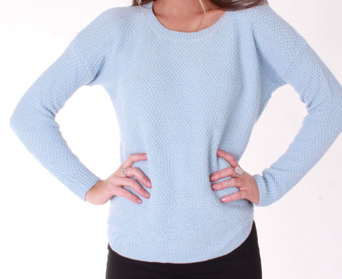 Ivy Zip Back Jumper - Sky Blue