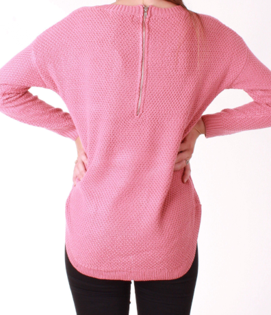 Ivy Zip Back Jumper - Rose