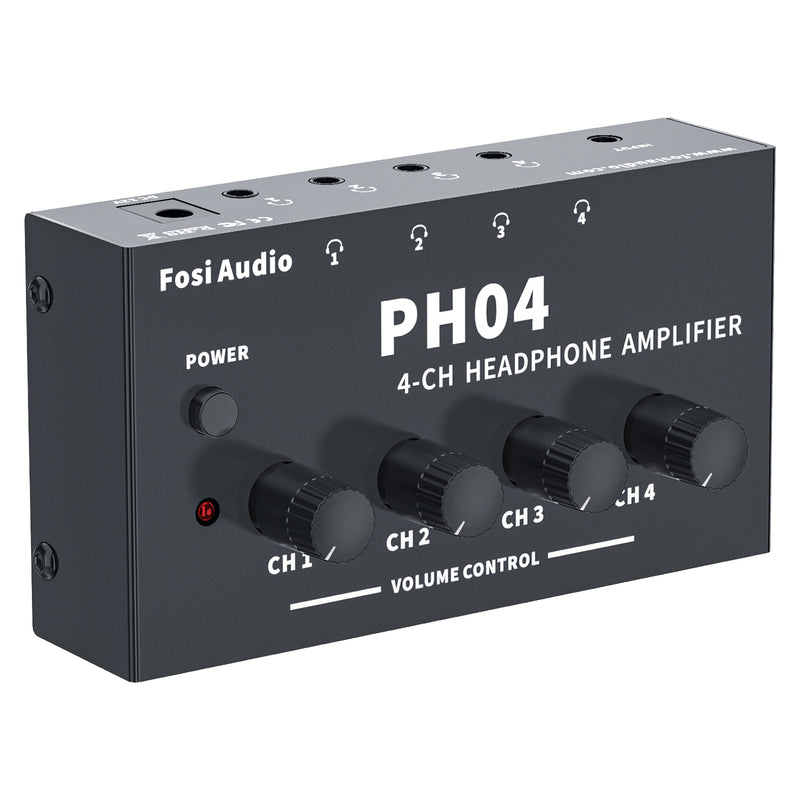 Fosi Audio PH04 Headphone Amplifier 4 -Channel Metal Stereo Audio Amp Ultra-Compact Portable Headphone Splitter for Studio