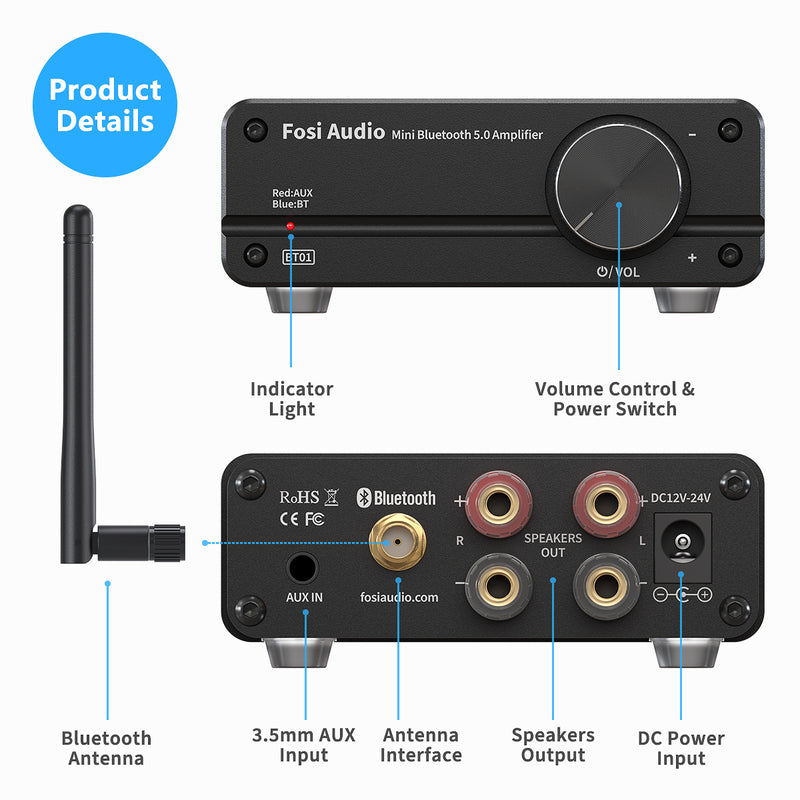 Fosi Audio BT01 Bluetooth 5.0 Stereo Amplifier 2 Channel Class D Mini HiFi Integrated Digital Power Amp for Home Speakers 50W *2
