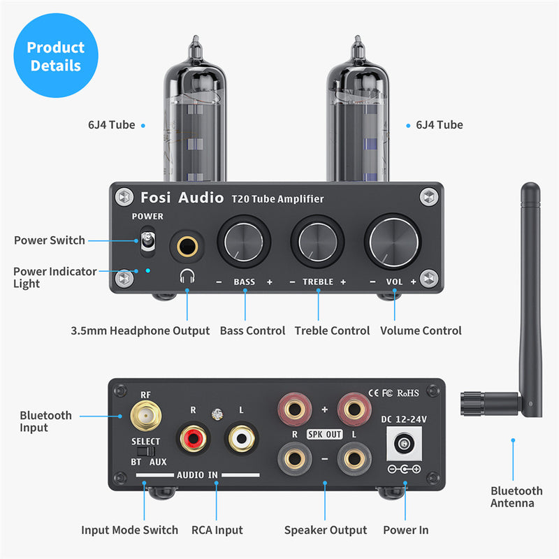 Fosi Audio T20 Bluetooth Tube Amplifier Stereo Amplificador Audio 50W Power Headphone Amplifier for Home Passive Speakers