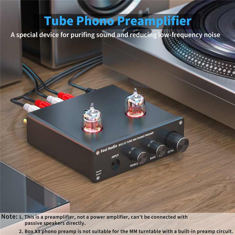 Fosi Audio Bluetooth Phono Preamp for Turntable Phonograph Preamplifier With GE5654 Vacuum Tube Amplifier Audio HiFi Box X3 DIY