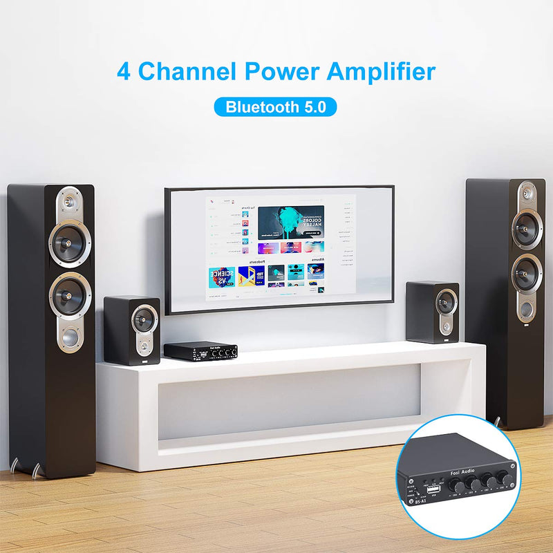 BS-A1 Bluetooth 5.0 50W X 4 Stereo Audio Receiver Amplifier 4.0 Channel Mini Hi-Fi Class D Integrated Amp USB Player for Home Speakers (with Power Adapter)