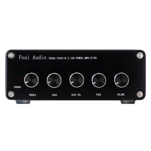 TB20A TPA3116D2 Stereo Amplifier 2.1 Channel Class D Audio Amp with Subwoofer Volume Control 2x50W 1x100W Sub Output Super Bass Power Receiver, Treble Bass Independent Adjustment + Power Supply