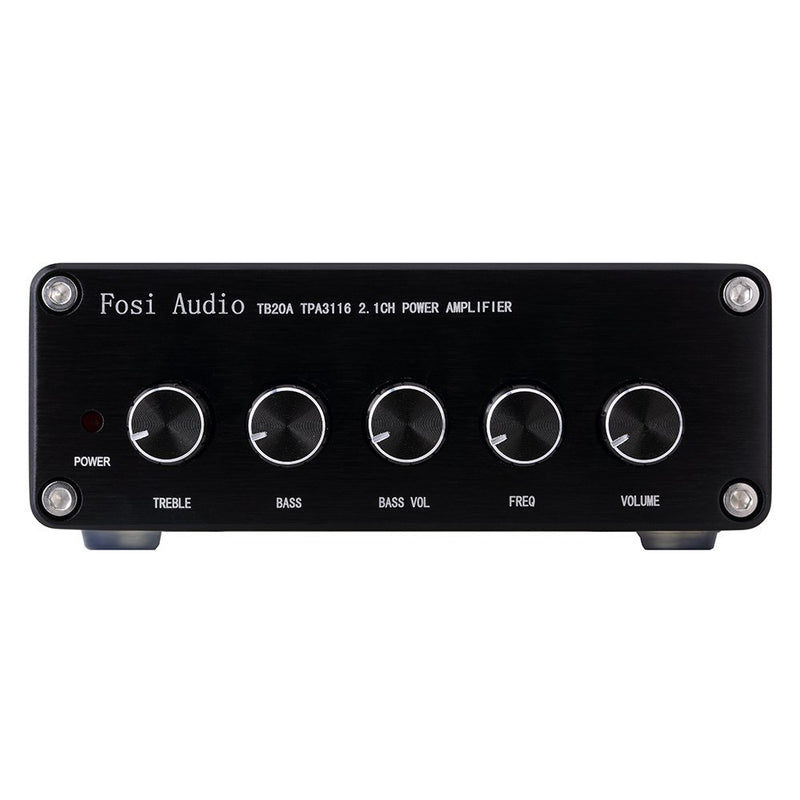 TB20A TPA3116D2 Stereo Amplifier 2.1 Channel Class D Audio Amp with Subwoofer Volume Control 2x50W 1x100W Sub Output Super Bass Power Receiver &Treble Control