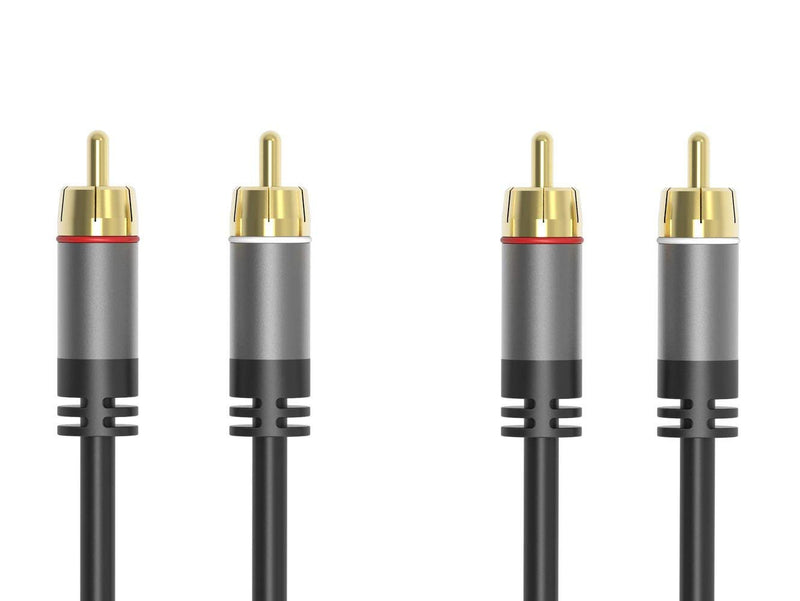 RCA Cable 3.5mm AUX  Dual Shielded Gold-Plated Step Down Design Y Splitter Stereo Audio Cable - 6 Feet (3.5mm to RCA)