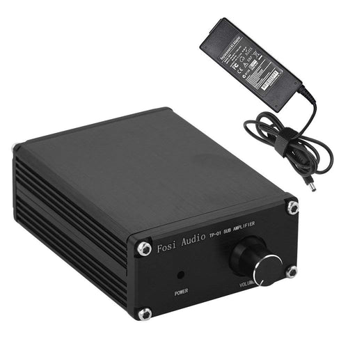 TP-01 Subwoofer Amplifier Receiver 100Watt Mini Hi-Fi Digital Class D Integrated Stereo Audio Amp for Sub Bass + Power Supply