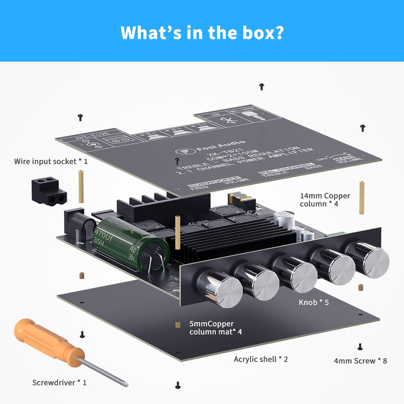 Fosi Audio TB21 Bluetooth 5.0 Amplifier Board 2.1 Channel Mini Wireless Stereo Audio Digital Amp Module 50W x2 100W Subwoofer